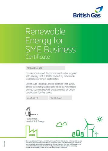 KB Buildings certificate of green electricity
